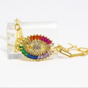 Gold Plated Rainbow CZ Evil Eye Lariat Bracelet